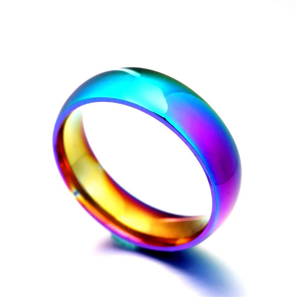 Unisex Rainbow Colorful Ring Titanium Steel Wedding Band Ring Width 2mm 4mm 6mm 8mm Size 5-13 - Selective Girl