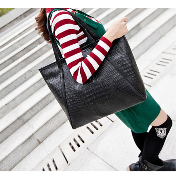 Black Casual Women Shoulder Bags PU Female Big Tote Bags for Ladies Handbag Large Capacity
