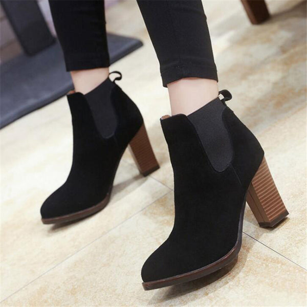 COVOYYAR Classic Thick Heel Women Ankle Boots 2018 Autumn Winter Lady High Heel Martin Boots Booties Black Shoes Women WBS267 - Selective Girl