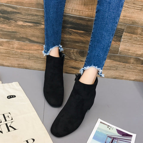 NEW Spring Autumn Women Shoes Mid Heel Ankle Boots Women's Zipper Platform Shoes Slope Martin Boots Female Soft Shoes Boots - Selective Girl