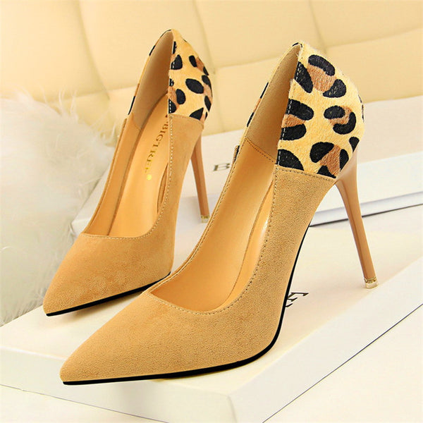 Sexy Leopard Spliced Flock Women Pumps