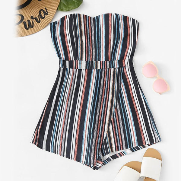 Striped Tiered Tube Romper