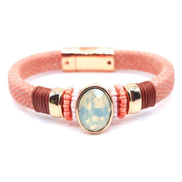 New Fashion Jewelry Leather Bracelet for Women Bangle Europe Beads Charms Gold Bracelet