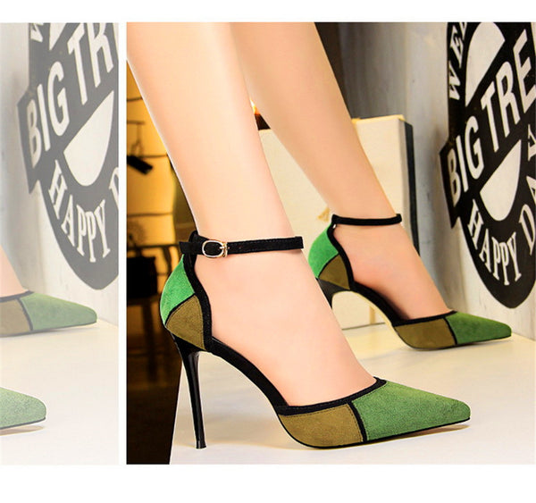 Mixed Colors Flock Women Sandals Fashion Buckle Pointed Toe High Heels