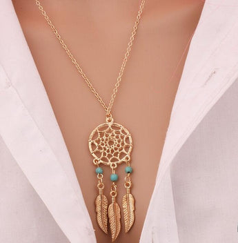 2017 Best Deal Fashion Retro Women  Tassels Feather Pendant Necklace Jewelry Bohemia Dream Catcher Pendant Chain Necklace