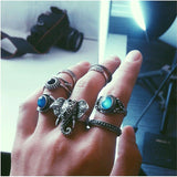 New Hot Bohemian Elephants Ring 10pcsTurquoise Retro Boho Rings  Leaf  Eyes same kinds high quality rings sets for women