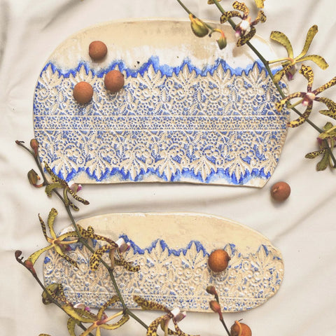Embossed Ceramic Plate - Blue