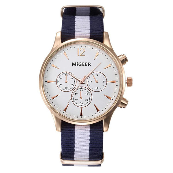 MIGEER Men's Leather Stainless Steel Military Casual Analog Quartz Wrist Watches - Creation 9
