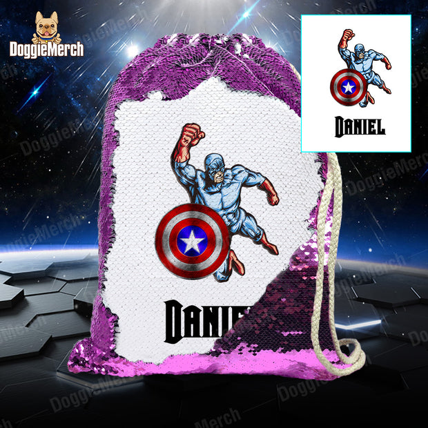 Personalized Captain America Drawstring Sequin Backpack