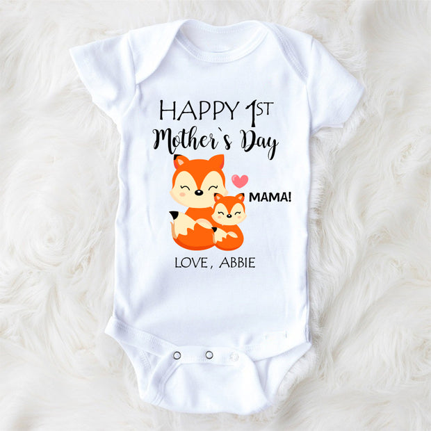 Personalized Fox Mother's Day Cozy Plush Fleece Blankets