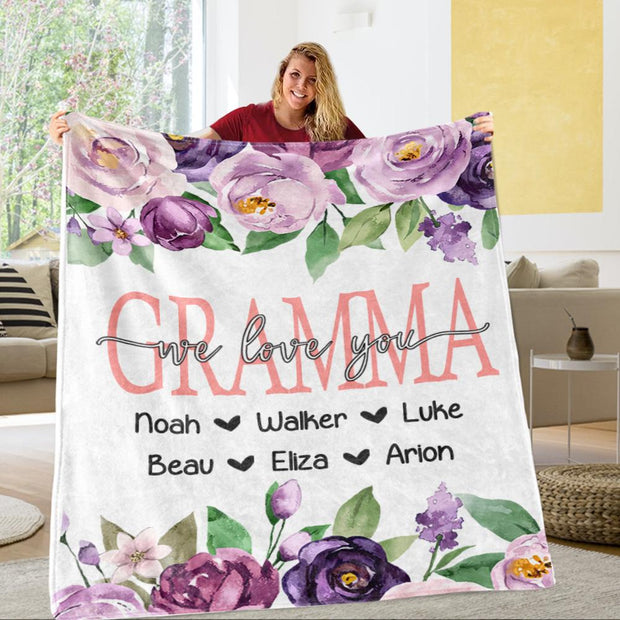 Personalized Purple Floral Cozy Plush Fleece Blankets with Your Nick & Kids' Names-BUY 2 SAVE 10%