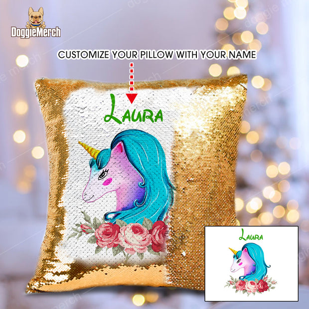 Custom Unicorn Sequins Pillow With Inner Doggie Merch
