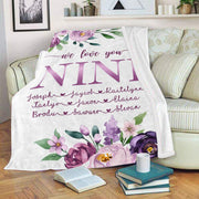 Custom Purple Floral Cozy Plush Fleece Blankets with Your Nick & Kids' Names-BUY 2 SAVE 10%