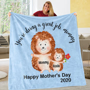 Custom Hedgehog Mother's Day Cozy Plush Fleece Blankets