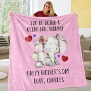 Personalized Elephant Mother's Day Cozy Plush Fleece Blankets