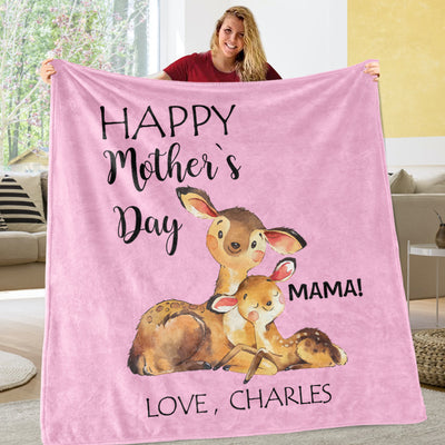 Personalized Deer Mother's Day Cozy Plush Fleece Blankets