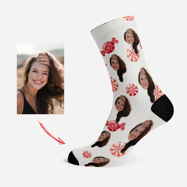 Custom Socks with Your Face Funny Socks Red Candy