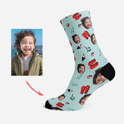 Custom Photo Socks Personalized Human Face Socks Slippers & Planes