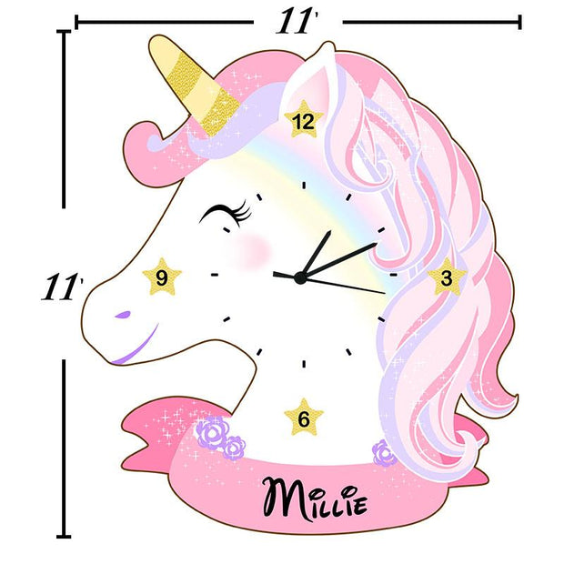 Personalised Unicorn Shape Clock