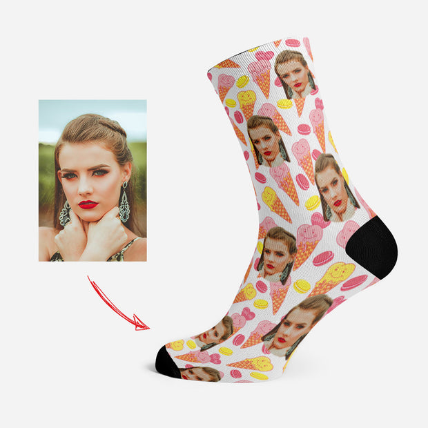 Custom Photo Socks Personalized Face Socks Smiling Ice Cream