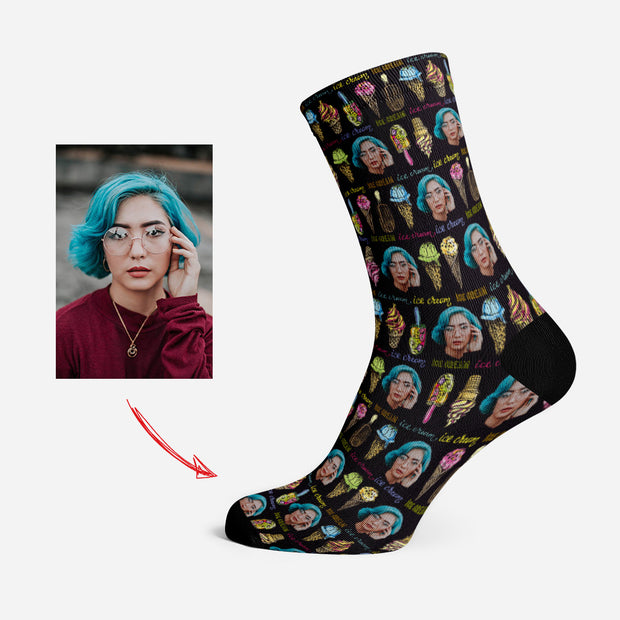 Custom Photo Socks Personalized Human Face Socks Ice Cream Black
