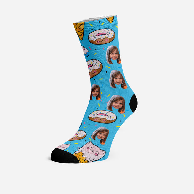 Custom Socks with Your Face Personalized Socks Love Cat Donuts