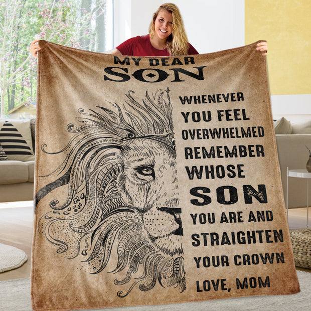 Mom To My Dear Son Vertical Fleece Blanket-Gift for Mother's Day
