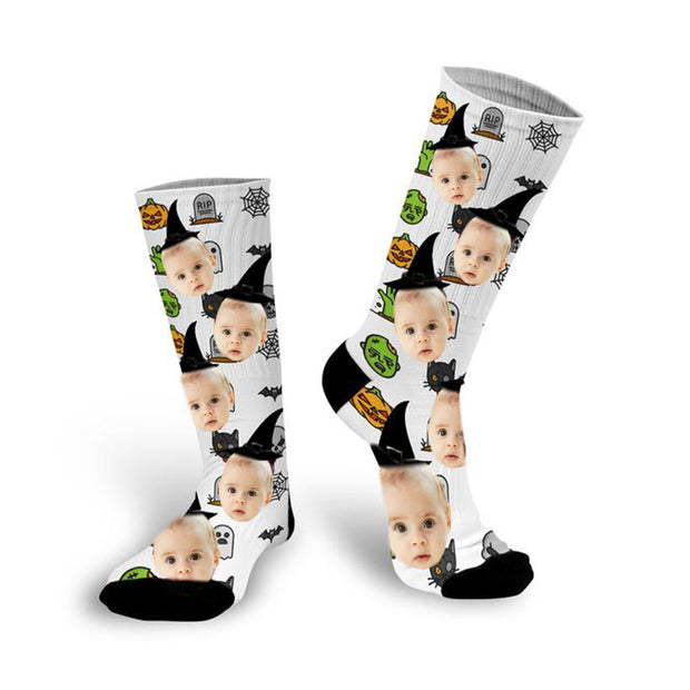 Personalized Halloween Photo Socks - Halloween Gifts / Custom Socks / Custom Photo Socks / Personalized Socks With Photo