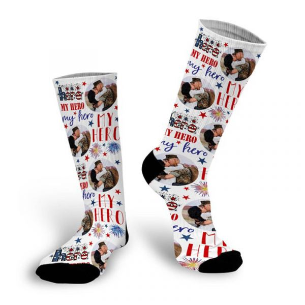 4th of July Custom Socks My Hero Patriotic Photo Socks