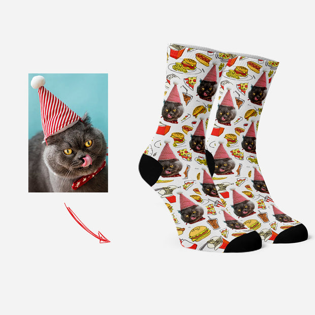 Custom Photo Socks Personalized Face Socks Hamburger & Chips