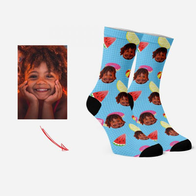 Personalized Face Socks with Watermelon & Lemon