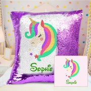 Custom Magical Unicorn Sequin Pillow with Inner