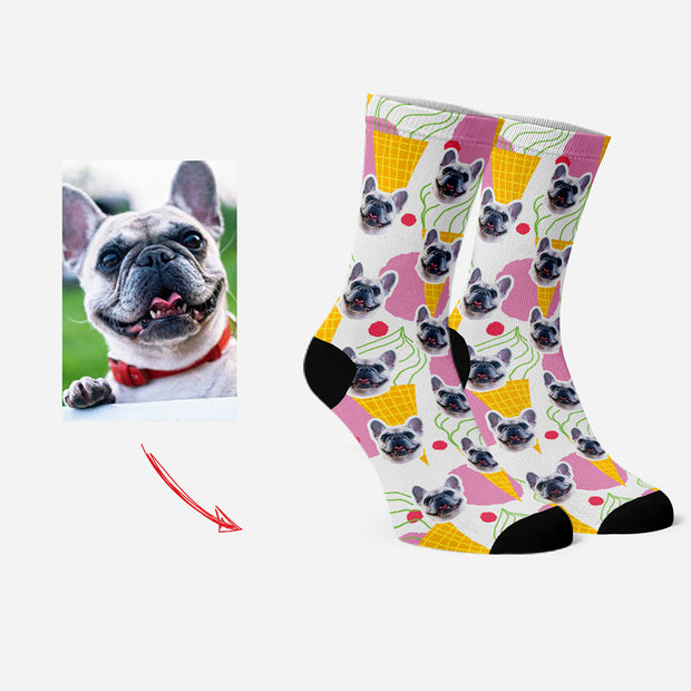 Custom Socks for Pet Lovers Funny Socks Yellow Ice Cream