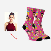 Custom Socks for Pet Lovers Funny Socks Ice Cream & Star