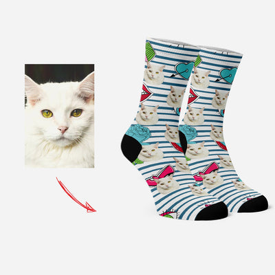 Custom Socks with Your Pet's Face Personalized Funny Socks Cupid's Arrow