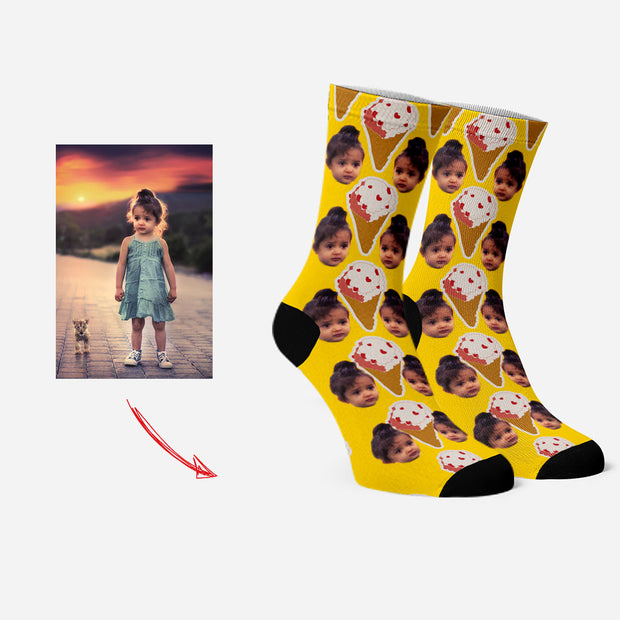 Custom Socks with Your Face Funny Socks Ice Cream Yellow
