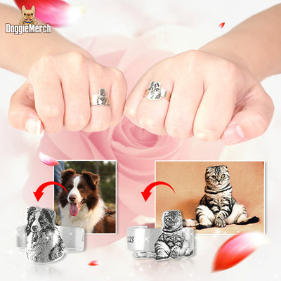 Personalized Photo Engravable Ring 990 Silver