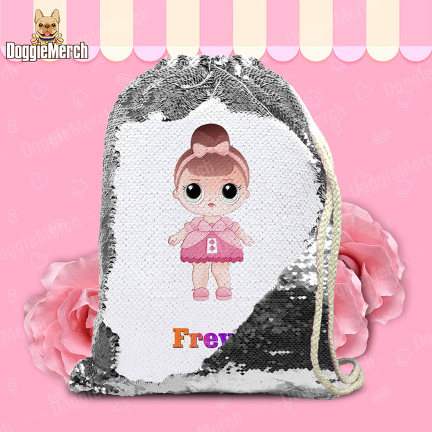 Personalized Pretty Doll Drawstring Sequin Backpack