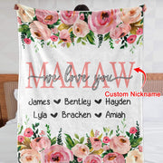 Personalized Floral Cozy Plush Fleece Blankets with Your Nick & Kids' Names - BUY 2 SAVE 10%