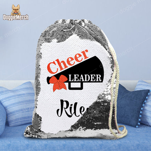 Personalized Cheer Leader Drawstring Sequin Backpack