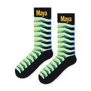 Custom Socks Crazy Socks Mens Socks Women's Sock Green Wave