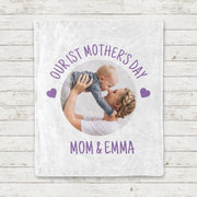Custom Photo and Name Mother's Day Cozy Plush Fleece Blankets