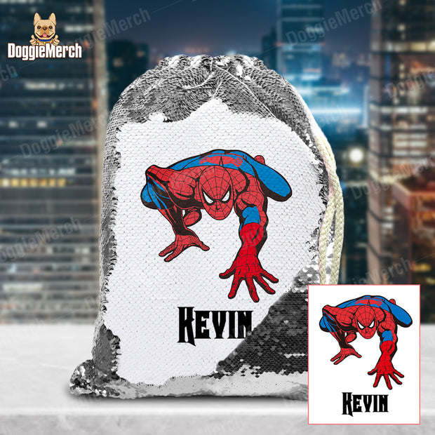 Personalized Spider-Man Drawstring Sequin Backpack