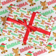 Personalized Christmas Wrapping Paper Christmas Gift Wrap for Kids with Name (5 Sheets Included)