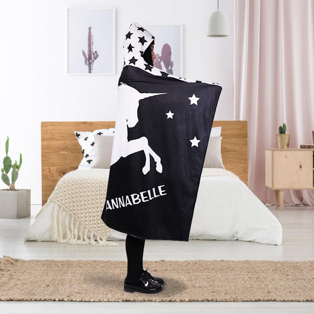 Personalized Miraculous Unicorn Hoodie Blanket - Black & White