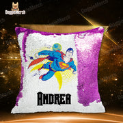 Personalized Superman Sequin Pillow With Inner
