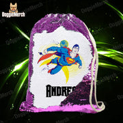 Personalized Superman Drawstring Sequin Backpack