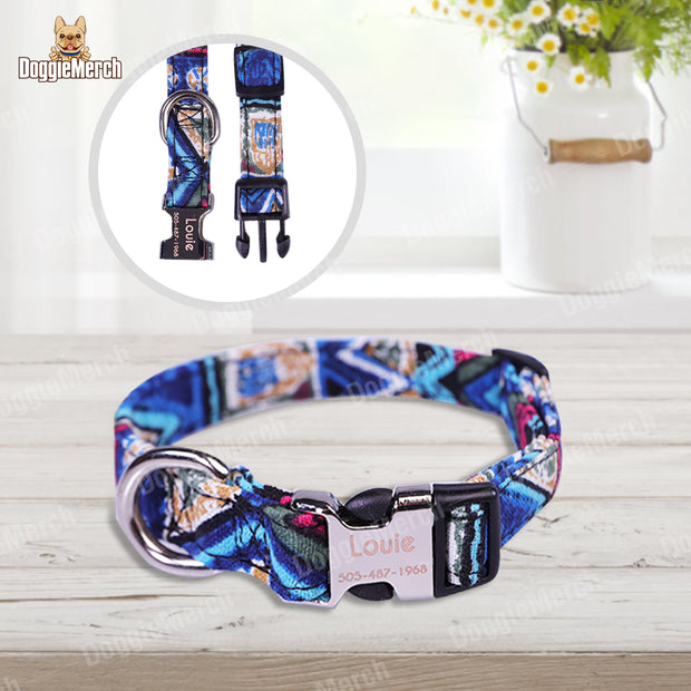 Personalized Dog ID Collar with Engraved Buckle