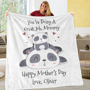 Custom Panda Mother's Day Cozy Plush Fleece Blanket