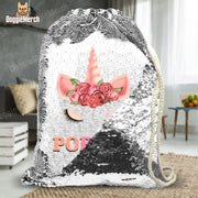Custom Floral Unicorn Drawstring Sequin Backpack